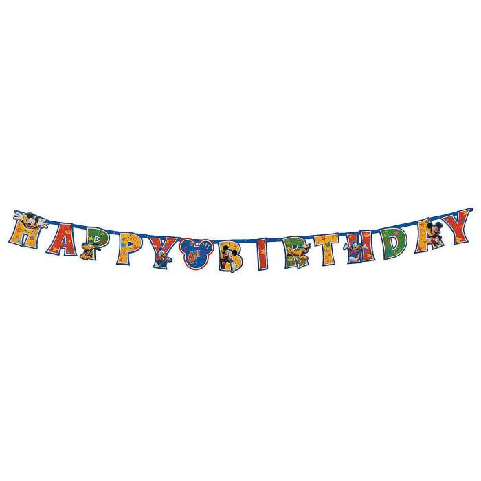 Add an Age Mickey Mouse Happy Birthday Jumbo Letter Banner Kit 10ft