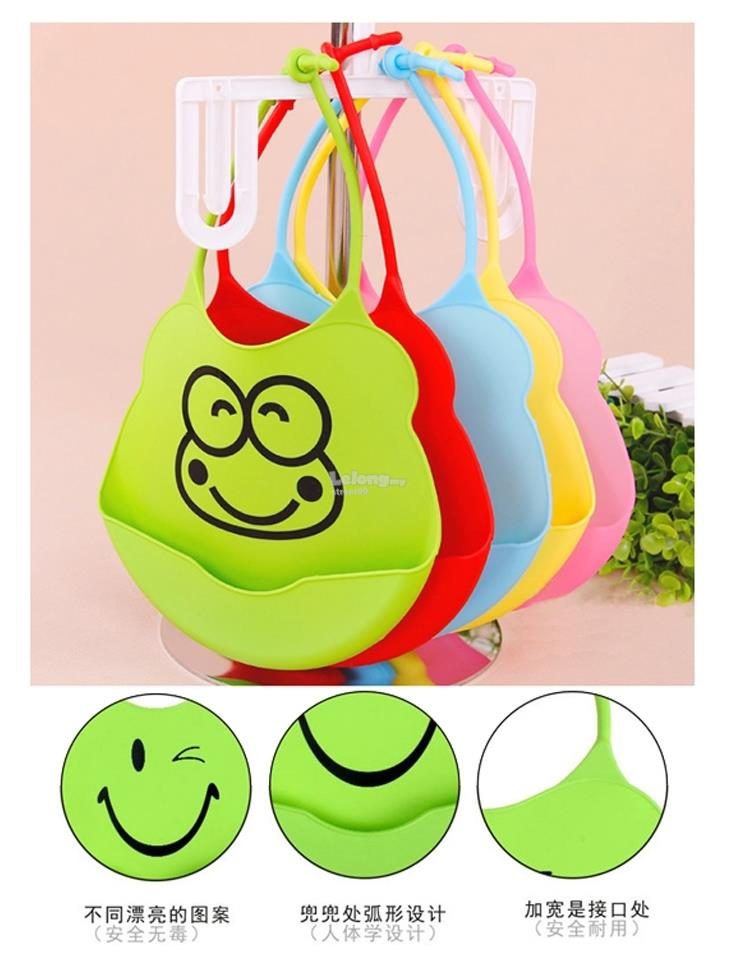 Adjustable durable baby kids silicone bib feeding self feed