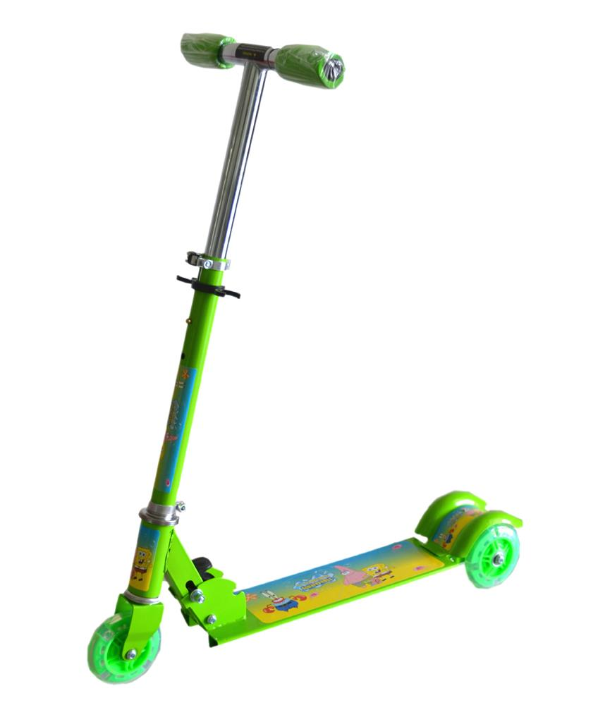Adjustable Foldable Children Kids Scooter Bicycle- Green Spongebob