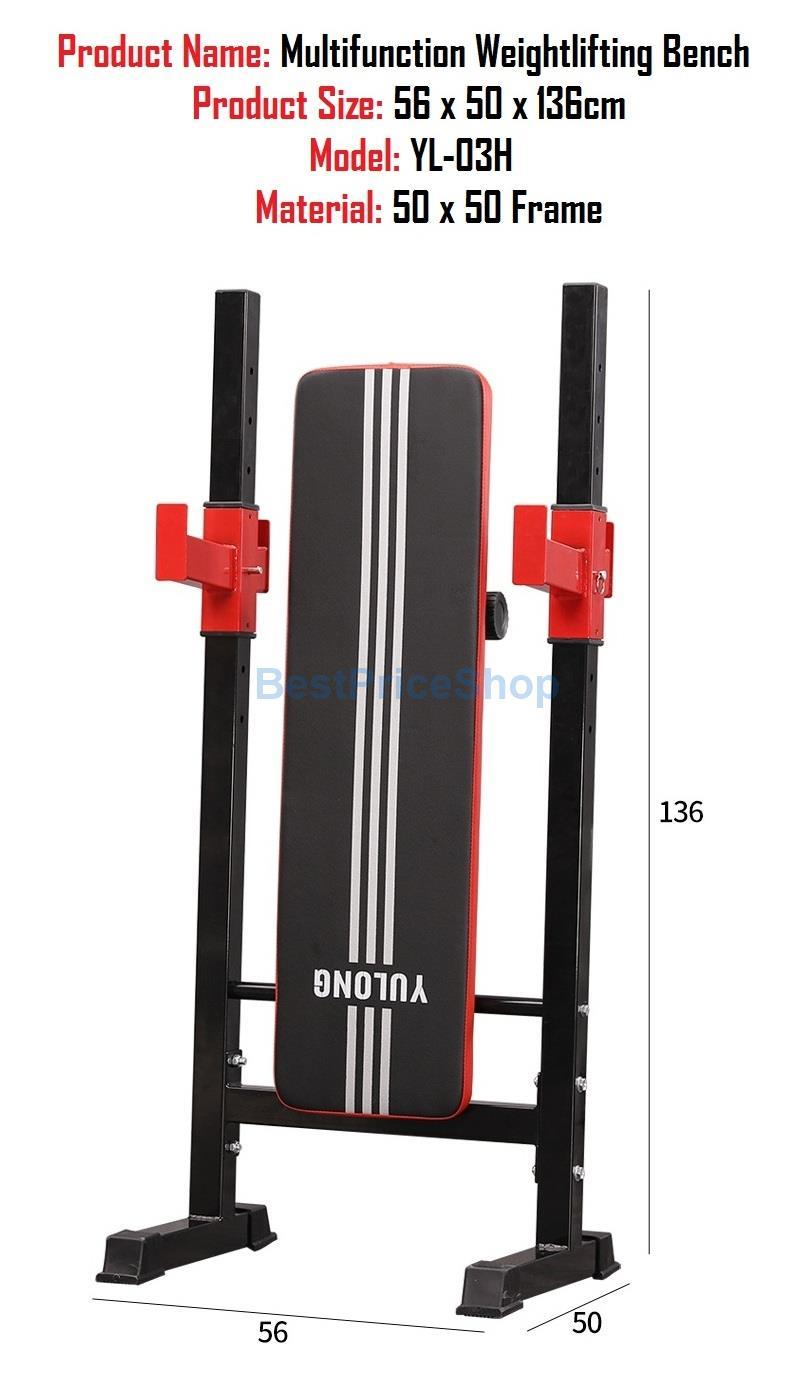 Adjustable Foldable Weightlifting Barbell Gym Dumbbell Bench YL-03H