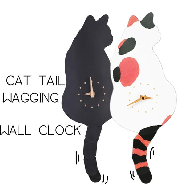Adorable Cat Wagging Tail Wall Clock Home Decorations
