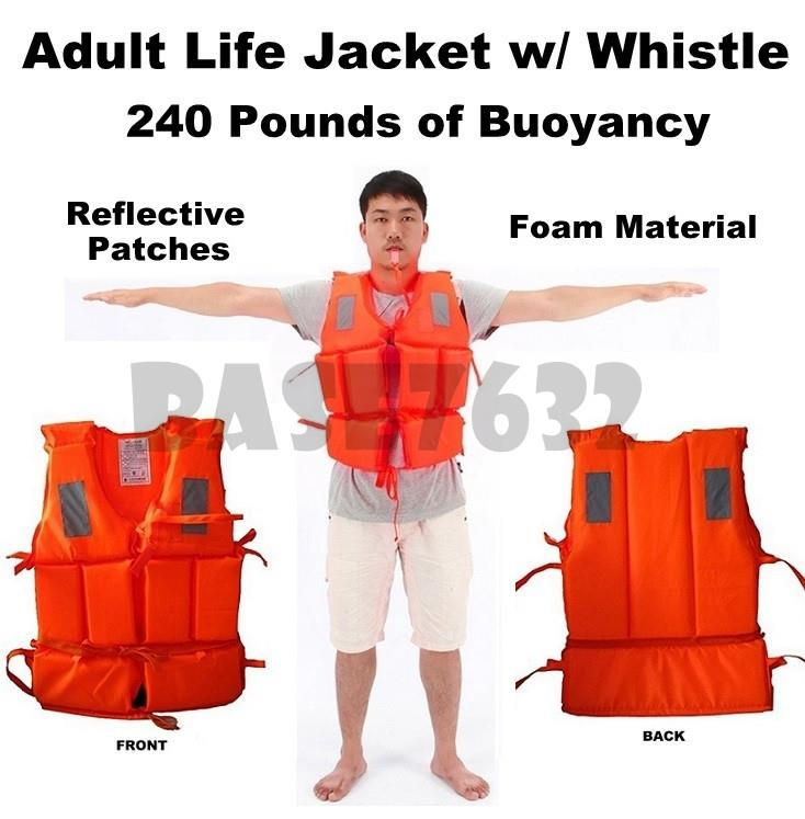 Adult Waterproof Life Vest Jacket w Whistle Reflective Patch 240 pound