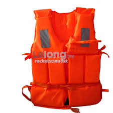Adult Waterproof Life Vest Jacket Whistle Reflective Patch