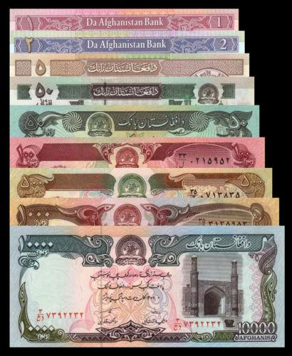Afghanistan 1979 2002 1 100 500 1000 10000 Afghanis Banknote 9pcs