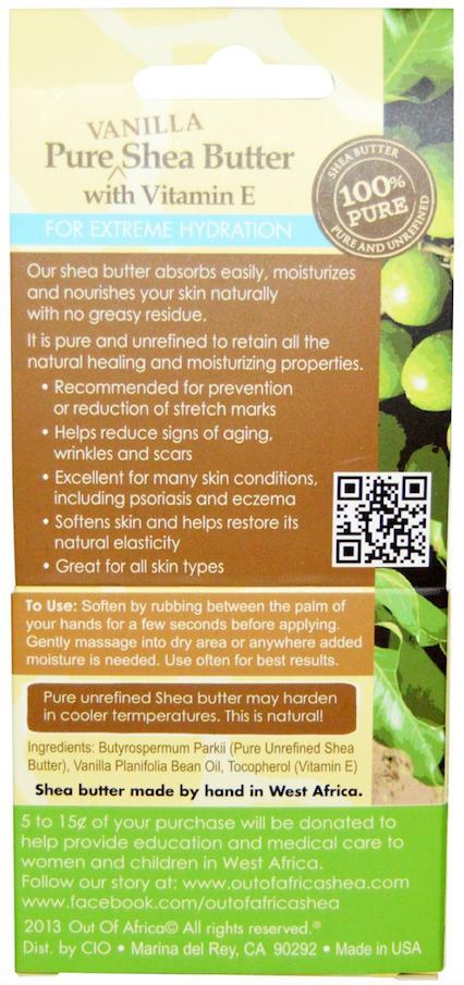 Out of Africa Pure Shea Butter with Vitamin E, Hydration, Psoriasis