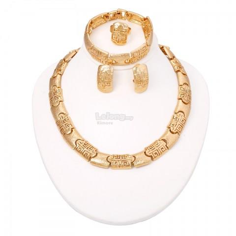 African Gold Plated Charming Chunky Costume Jewelry Set