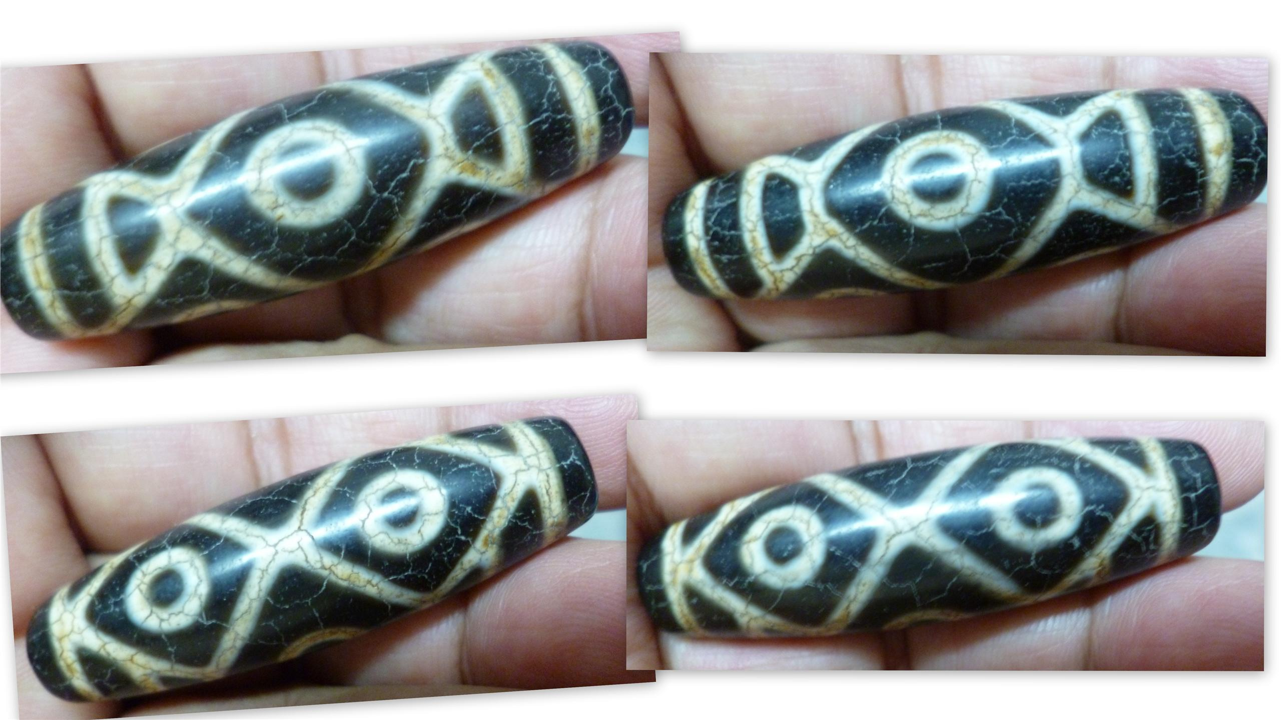OLD  AGATE 6 DRAGON EYE  TIBETAN DZI