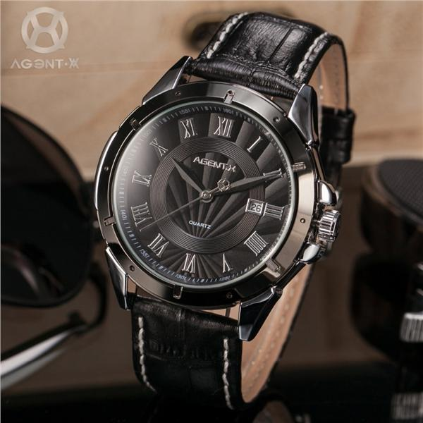Agent X Black Dial Stainless Steel Case Leather Band Men Watch M010