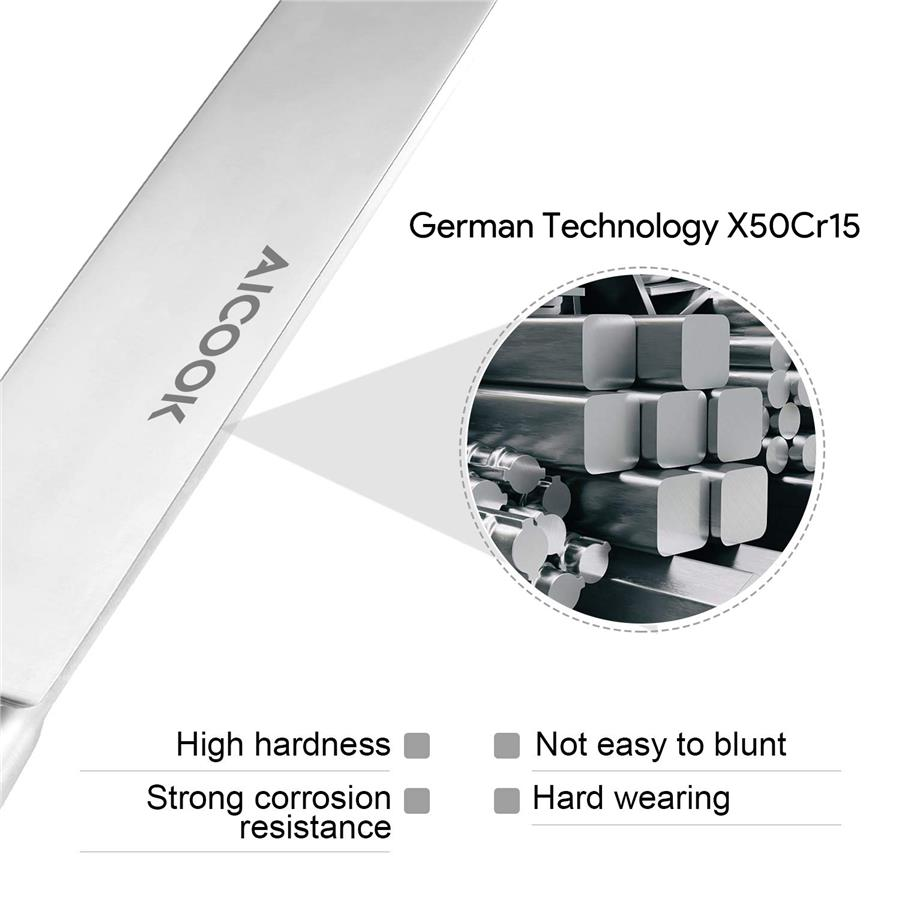 AICOOK KFH001 German High Carbon S.Steel X50Cr15 Premium..