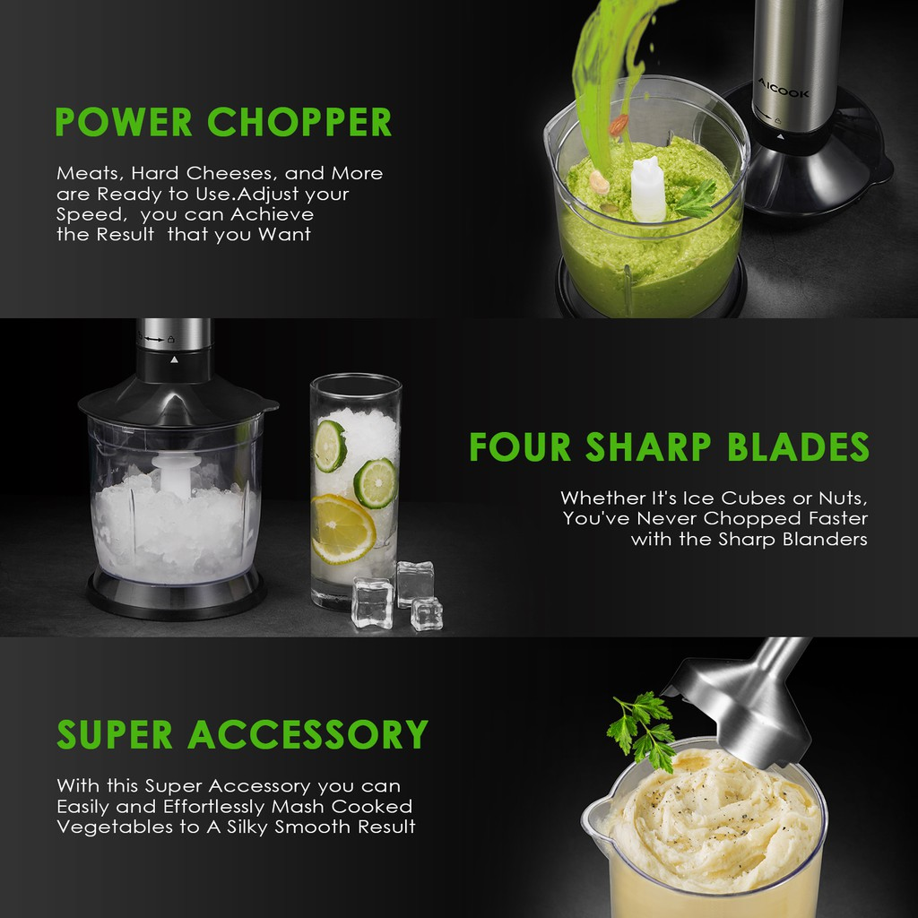 Aicook LB2109 4 in 1 Ultra-Quick Smart Stepless Speed Immersion Hand Blender