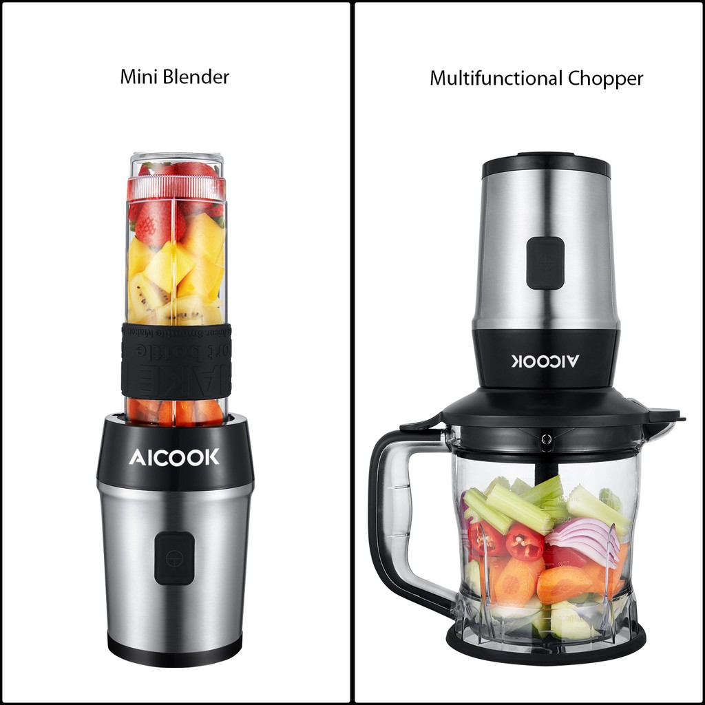Aicook TB13SM 2 in 1 Personal Blender Chopper Juicer With Tritan Bottle BPA FR