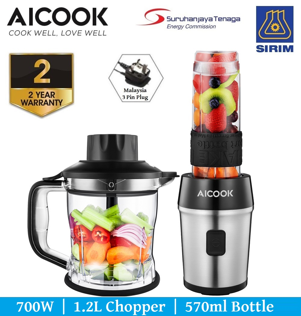 Aicook TB13SM Powerful 700W Personal Blender Chopper 2 in 1 , 1.2L Cho
