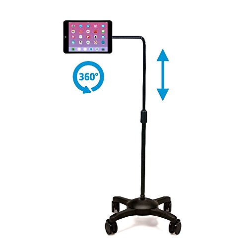 AIDATA iPad/Tablet Stand : Mobile Rolling Adjustable Floor Holder (L Arm) with