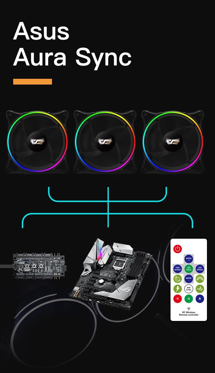 AIGO DARKFLASH  MR12 3 IN 1 ADDRESSABLE RGB FAN WITH MOTHERBOARD SYNC