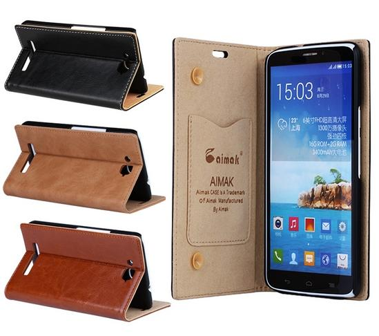AIMAK Cow Leather Alcatel One Touch Hero 8020X Flip Case Cover