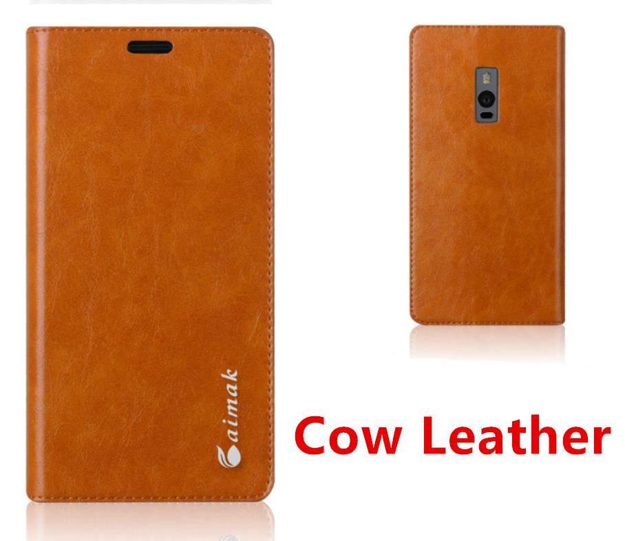 Aimak Cow Leather Oneplus One Plus Two 1+2 Case Cover Casing + Gifts