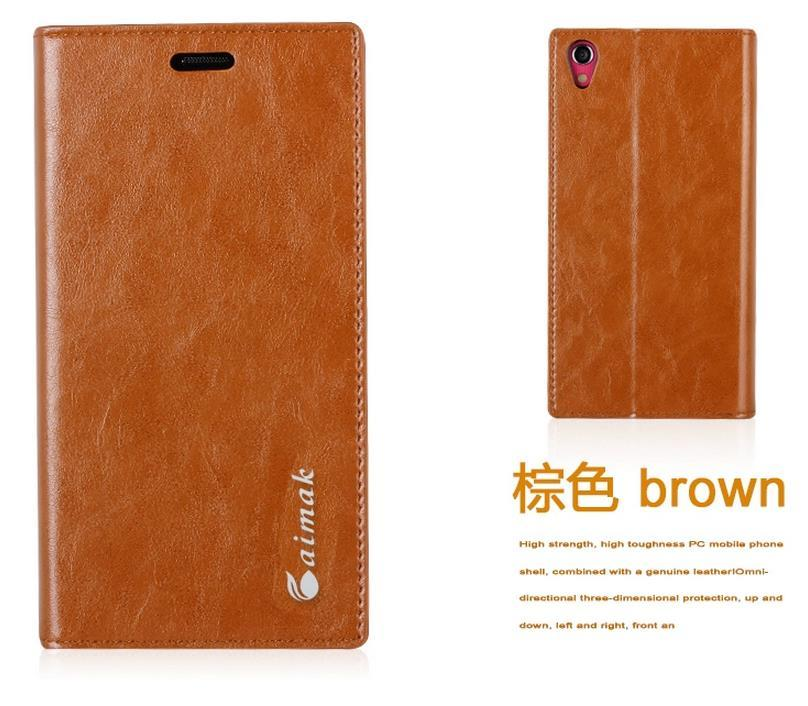Aimak Lenovo S850 Cow Leather Flip Case Cover + Free Screen Protector