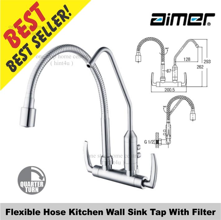 Aimer AMFC 1959F Flexible Hose Kitchen Wall Sink Tap With Filter