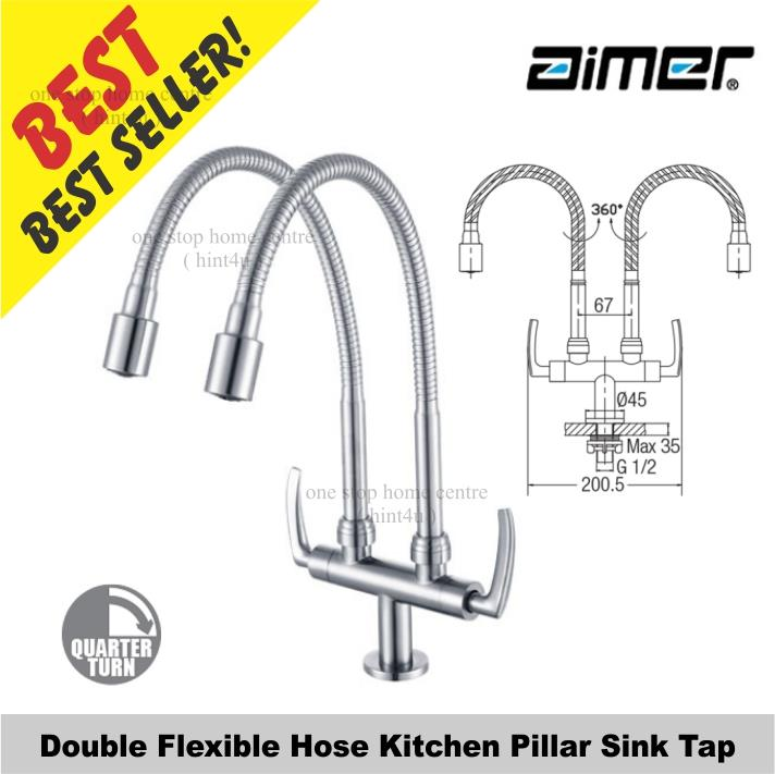 Aimer AMFC 1960H Double Flexible Hose Kitchen Pillar Sink Tap