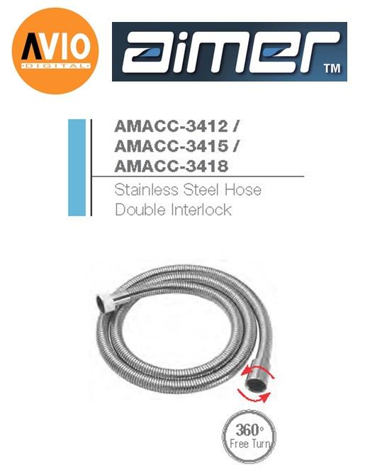AIMER MALAYSIA AMACC-3418 STAINLESS STEEL 1.8M HOSE DOUBLE INTERLOCK