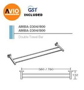 AIMER MALAYSIA AMBA-2304/600 STAINLESS 304 600MM DOUBLE TOWEL BAR