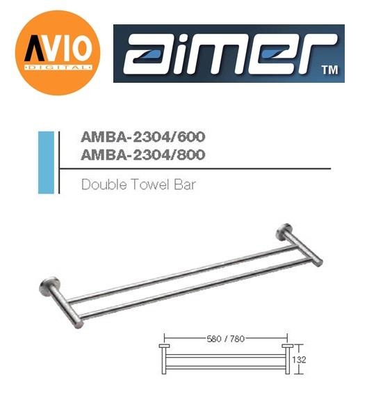 AIMER MALAYSIA AMBA-2304/800 STAINLESS 304 800MM DOUBLE TOWEL BAR