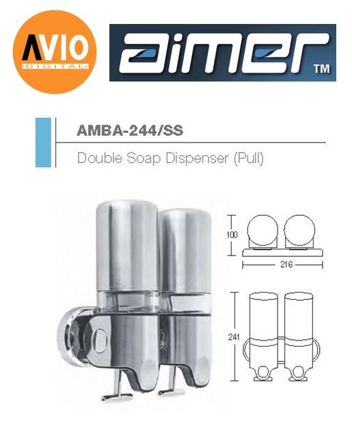 AIMER MALAYSIA AMBA-244/SS ABS DOUBLE SHAMPOO AND SOAP DISPENSER PULL