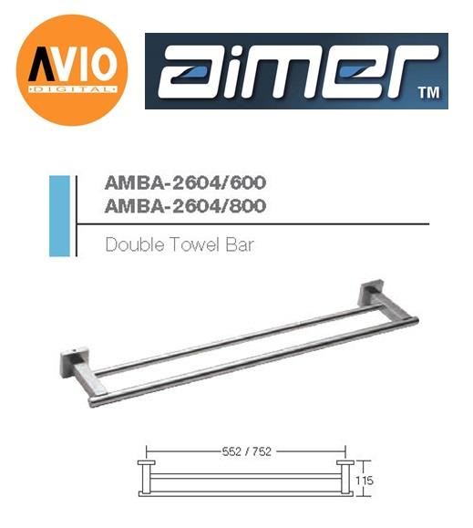 AIMER MALAYSIA AMBA-2604/800 STAINLESS 304 800MM DOUBLE TOWEL BAR