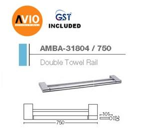 AIMER MALAYSIA AMBA-31804/750 BRASS CHROMED 750MM DOUBLE TOWEL RACK