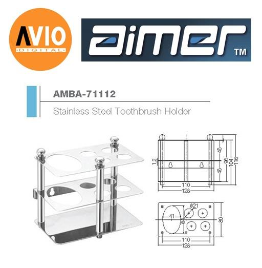 AIMER MALAYSIA AMBA-71112 CHROMED STAINLESS STEEL TOOTHBRUSH HOLDER