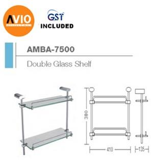 AIMER MALAYSIA AMBA-7500 BRASS CHROMED DOUBLE GLASS SHELF