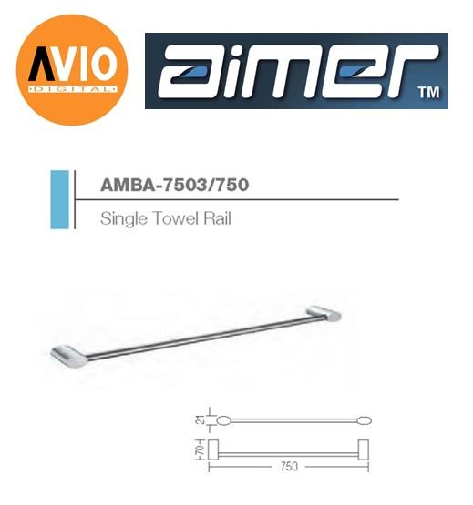 AIMER MALAYSIA AMBA-7503/750 BRASS CHROMED 750MM TOWEL RAIL