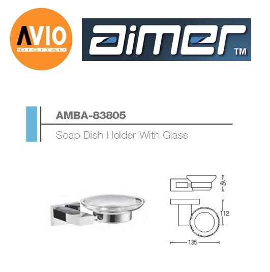 AIMER MALAYSIA AMBA-83805 BRASS CHROMED SOAP DISH HOLDER WITH GLASS