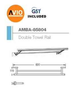 AIMER MALAYSIA AMBA-85804 BRASS CHROMED 600MM DOUBLE TOWEL RAIL