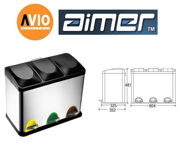 AIMER MALAYSIA AMDB-6445 Stainless Satin Nickel 45L Liter SQUARE SHAPE