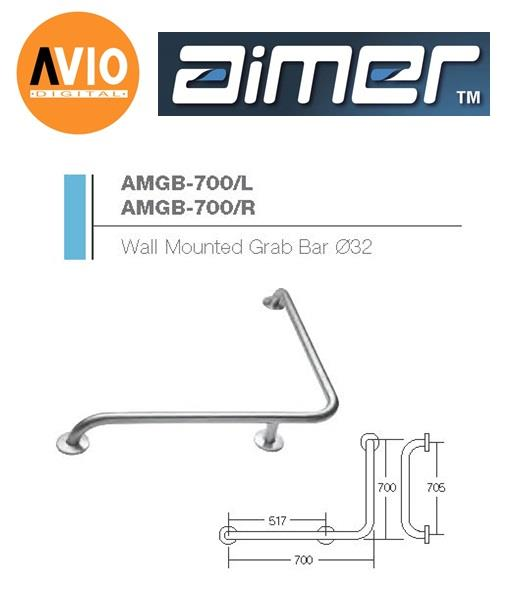 AIMER MALAYSIA AMGB-700/L STAINLESS 304 WALL MOUNTED GRAB BAR Ø32