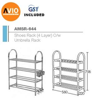 AIMER MALAYSIA AMSR-644 STAINLESS SHOES RACK 4 LAYER C/W UMBRELLA RACK