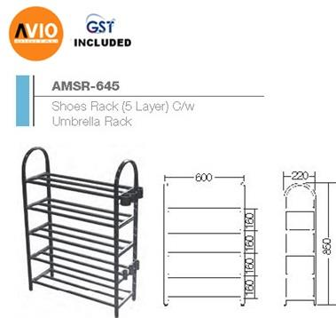 AIMER MALAYSIA AMSR-645 STAINLESS SHOES RACK 5 LAYER C/W UMBRELLA RACK