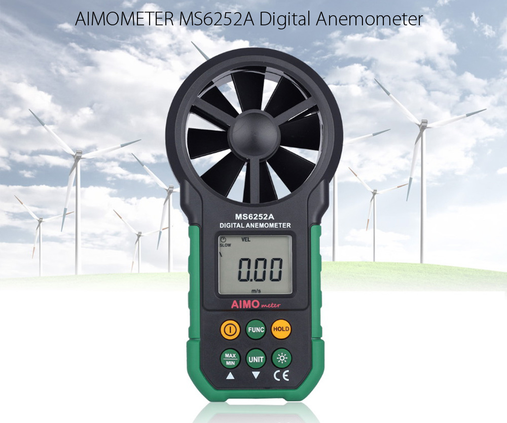 AIMOMETER MS6252A Digital Anemometer Air Speed Velocity Meter