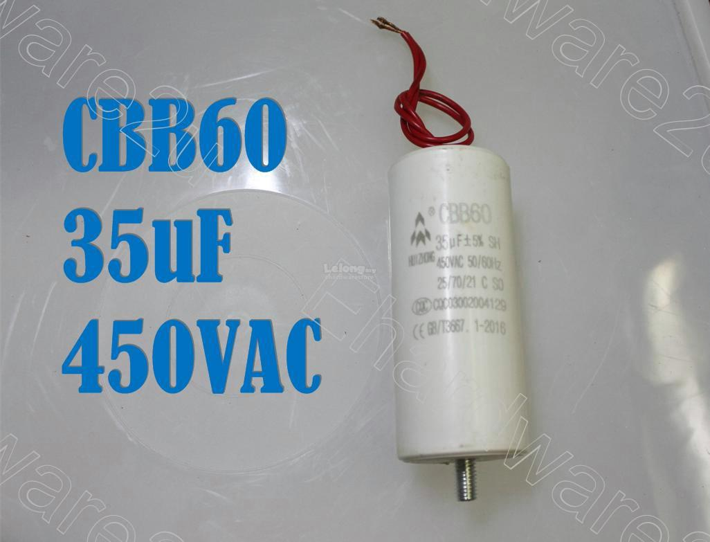 Air Compressor Motor Run Capacitor 450VAC 35uF With M8 Stud (CBB60)