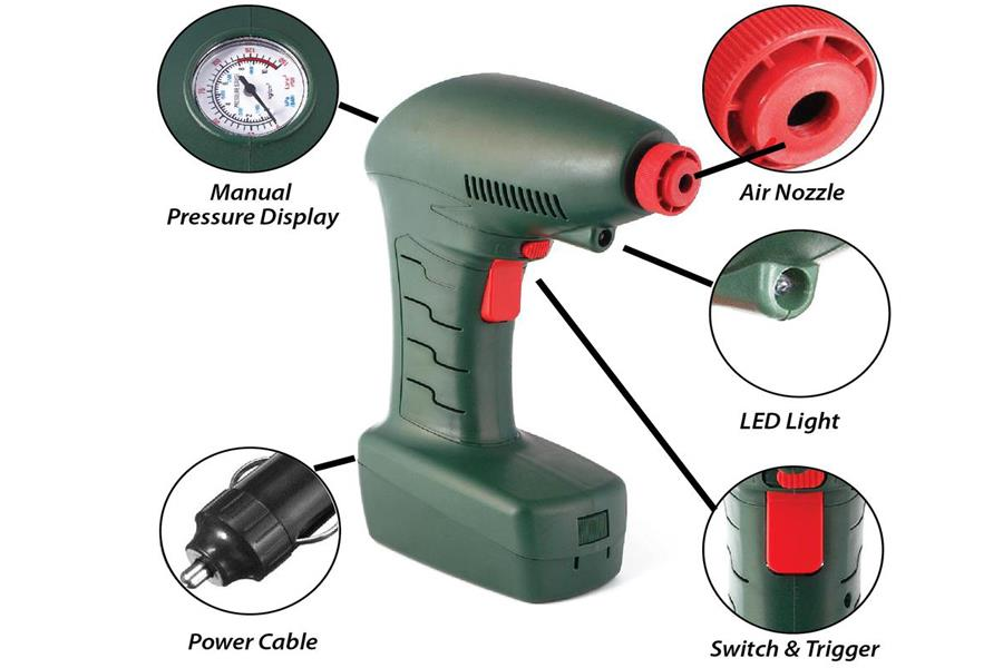 Air Dragon Portable Air Compressor Analog Pressure Emergency Inflator