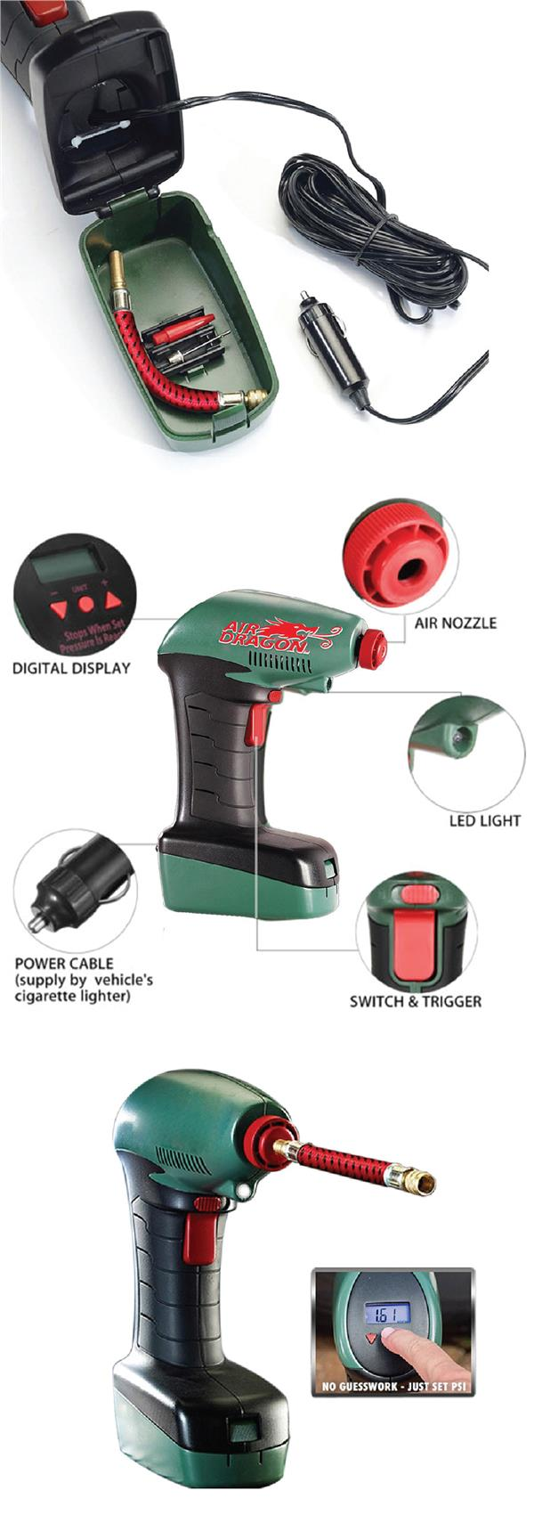 Air Dragon Portable Air Compressor Inflator Emergency Pump Auto Stop