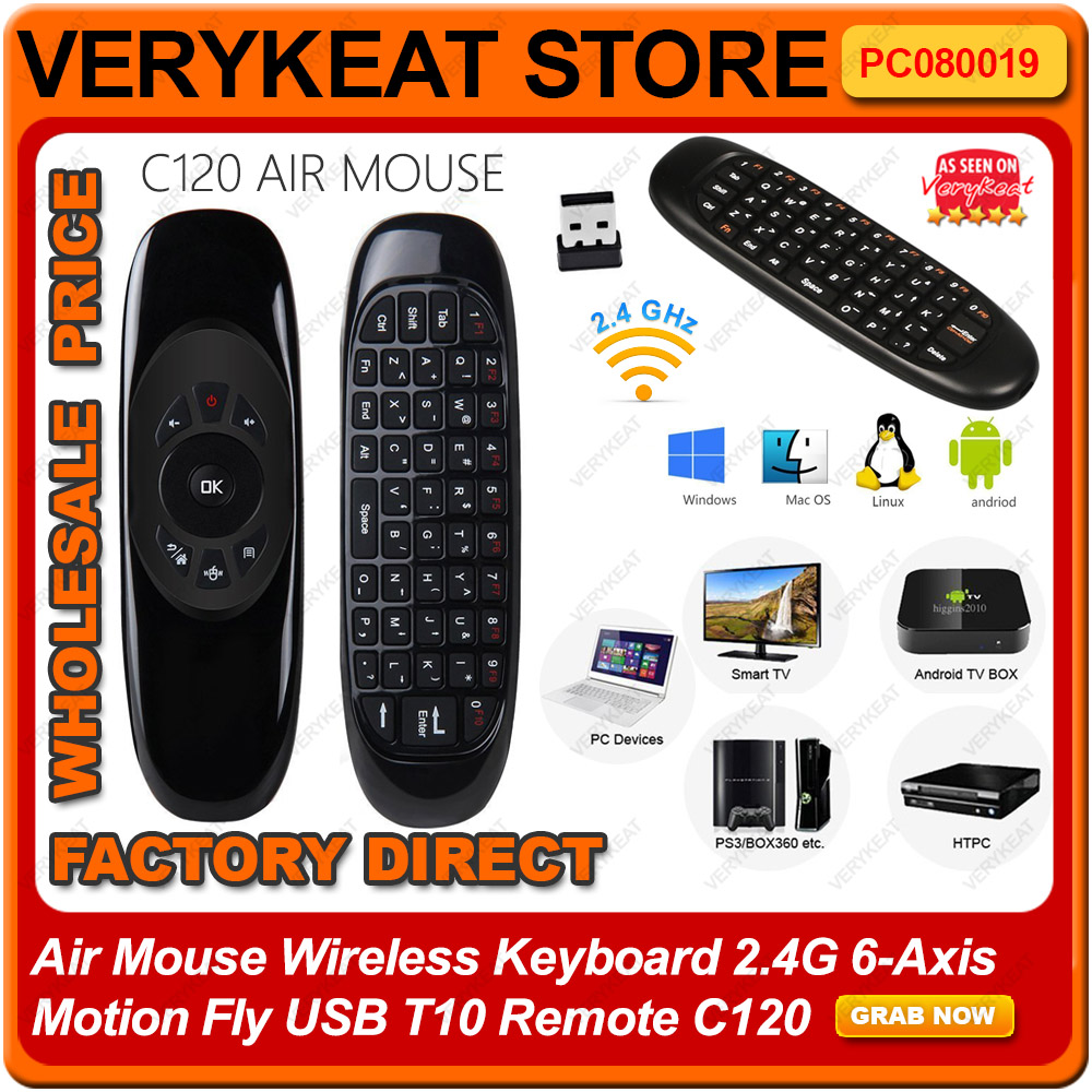 Air Mouse Wireless Keyboard 2.4G 6-axis Motion Fly USB T10 Remote C120