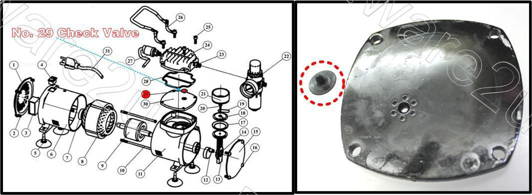 Air Compressor Replacement Parts >> Airbrush Mini Air Compressor Check Valve Replacement Parts Macrs29