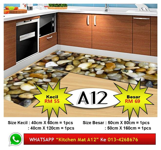 "Alas Kaki Dapur Kitchen Floor Matt Carpet Design ""BATU SUNGAI"" Cantik"