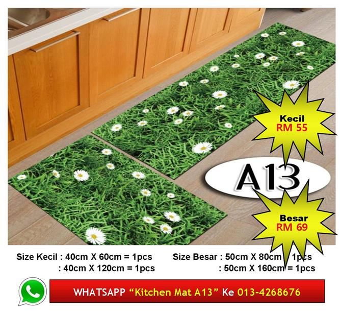 Alas Kaki Dapur Kitchen Floor Matt Carpet Design Rumput Segar Fresh