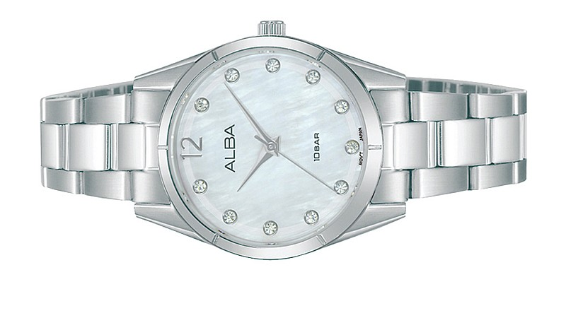 ALBA Ladies FASHION Swarovski Stainless Steel Date Watch VJ21-X167PESS
