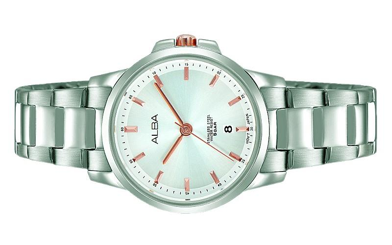 Alba Ladies Stainless Steel Date Watch VJ22-X241SRGS