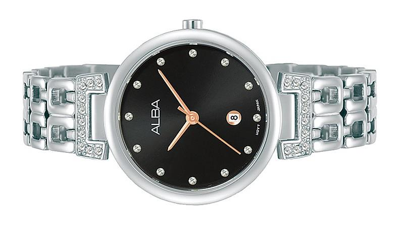 ALBA Ladies Swarovski Stainless Steel Fashion Date Watch VJ22-X312BRGS