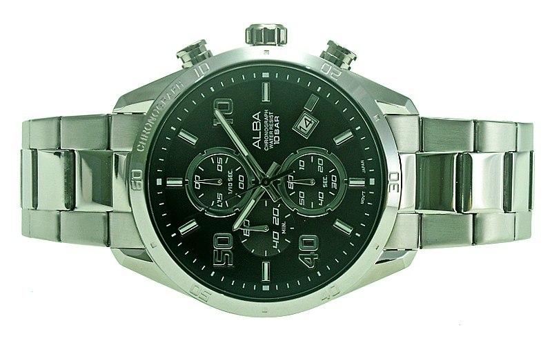 ALBA Men Chronograph Stainless Steel Date Watch VD57-X151BSS